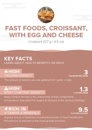 Fast foods, croissant, with egg and cheese