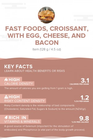 Fast foods, croissant, with egg, cheese, and bacon