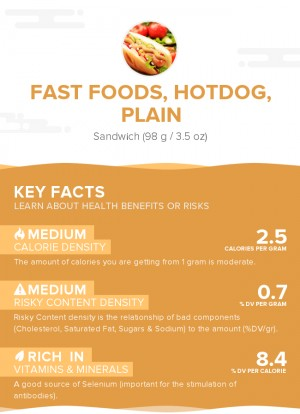 Fast foods, hotdog, plain