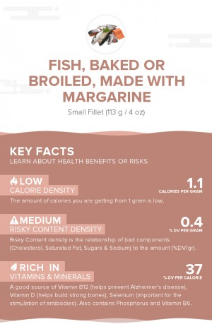 Fish, baked or broiled, made with margarine