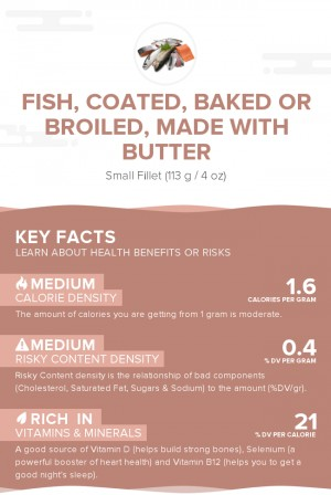 Fish, coated, baked or broiled, made with butter