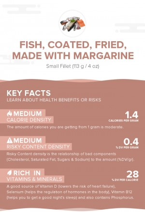 Fish, coated, fried, made with margarine