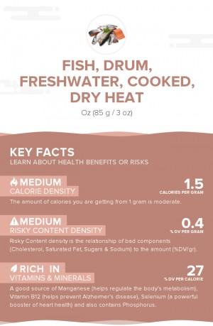 Fish, drum, freshwater, cooked, dry heat