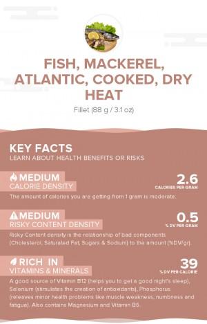 Fish, mackerel, Atlantic, cooked, dry heat