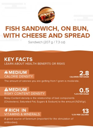 Fish sandwich, on bun, with cheese and spread