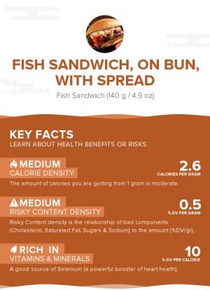 Fish sandwich, on bun, with spread