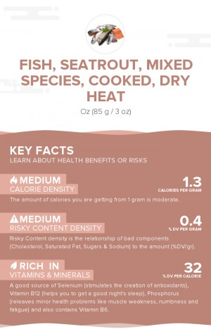 Fish, seatrout, mixed species, cooked, dry heat