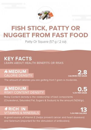 Fish stick, patty or nugget from fast food