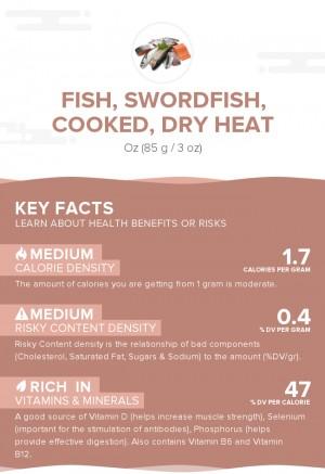 Fish, swordfish, cooked, dry heat