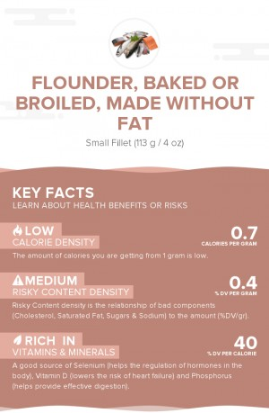 Flounder, baked or broiled, made without fat