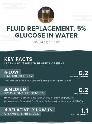 Fluid replacement, 5% glucose in water