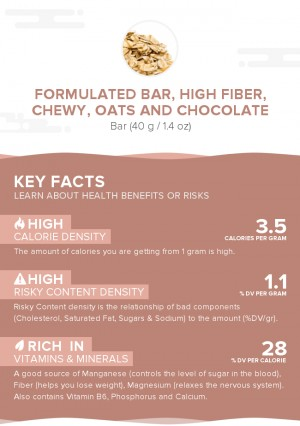 Formulated bar, high fiber, chewy, oats and chocolate