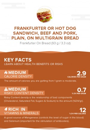 Frankfurter or hot dog sandwich, beef and pork, plain, on multigrain bread