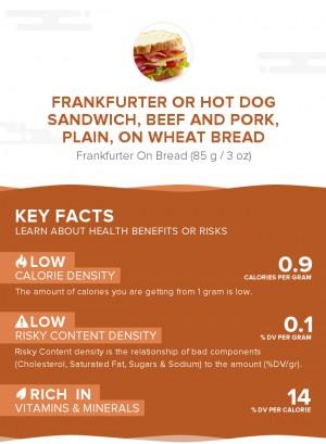 Frankfurter or hot dog sandwich, beef and pork, plain, on wheat bread