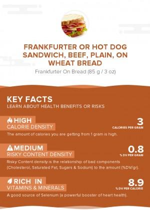 Frankfurter or hot dog sandwich, beef, plain, on wheat bread