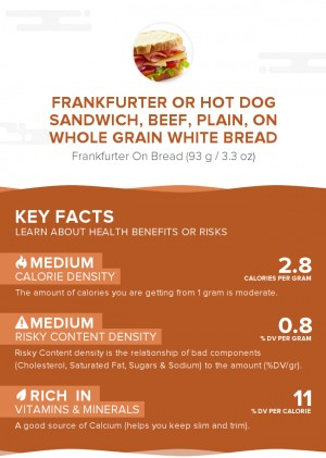 Frankfurter or hot dog sandwich, beef, plain, on whole grain white bread
