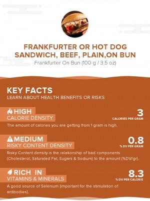 Frankfurter or hot dog sandwich, beef, plain,on bun
