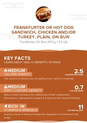 Frankfurter or hot dog sandwich, chicken and/or turkey, plain, on bun