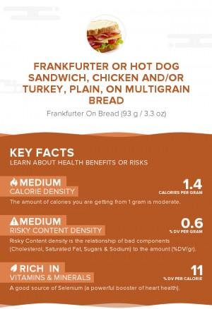 Frankfurter or hot dog sandwich, chicken and/or turkey, plain, on multigrain bread