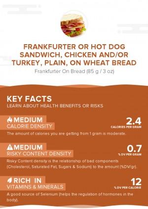 Frankfurter or hot dog sandwich, chicken and/or turkey, plain, on wheat bread