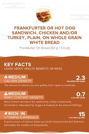 Frankfurter or hot dog sandwich, chicken and/or turkey, plain, on whole grain white bread