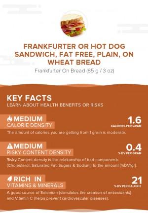 Frankfurter or hot dog sandwich, fat free, plain, on wheat bread