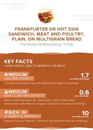 Frankfurter or hot dog sandwich, meat and poultry, plain, on multigrain bread