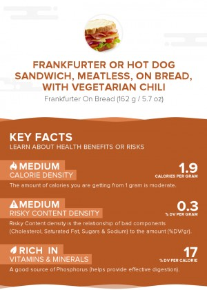 Frankfurter or hot dog sandwich, meatless, on bread, with vegetarian chili