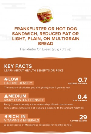 Frankfurter or hot dog sandwich, reduced fat or light, plain, on multigrain bread