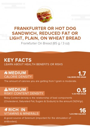 Frankfurter or hot dog sandwich, reduced fat or light, plain, on wheat bread