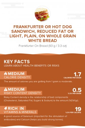 Frankfurter or hot dog sandwich, reduced fat or light, plain, on whole grain white bread