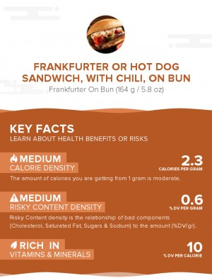 Frankfurter or hot dog sandwich, with chili, on bun