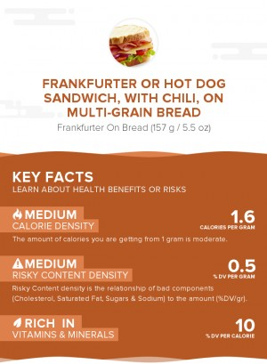 Frankfurter or hot dog sandwich, with chili, on multi-grain bread