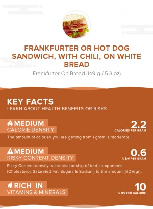 Frankfurter or hot dog sandwich, with chili, on white bread