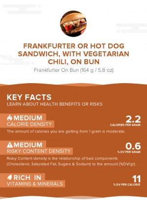 Frankfurter or hot dog sandwich, with vegetarian chili, on bun