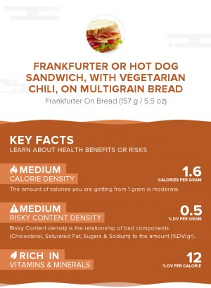 Frankfurter or hot dog sandwich, with vegetarian chili, on multigrain bread