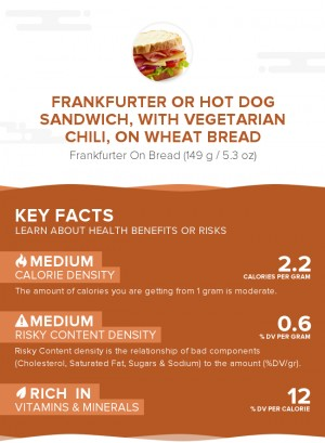 Frankfurter or hot dog sandwich, with vegetarian chili, on wheat bread