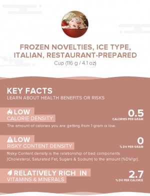 Frozen novelties, ice type, italian, restaurant-prepared