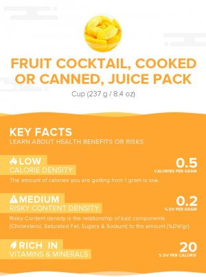 Fruit cocktail, cooked or canned, juice pack