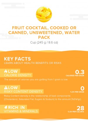 Fruit cocktail, cooked or canned, unsweetened, water pack