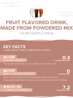Fruit flavored drink, made from powdered mix