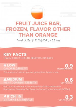 Fruit juice bar, frozen, flavor other than orange