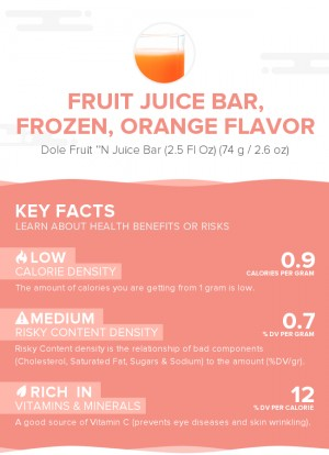 Fruit juice bar, frozen, orange flavor