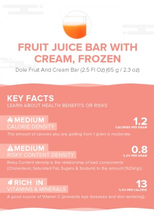 Fruit juice bar with cream, frozen