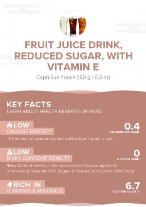 Fruit juice drink, reduced sugar, with vitamin E