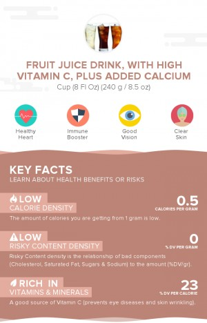 Fruit juice drink, with high vitamin C, plus added calcium