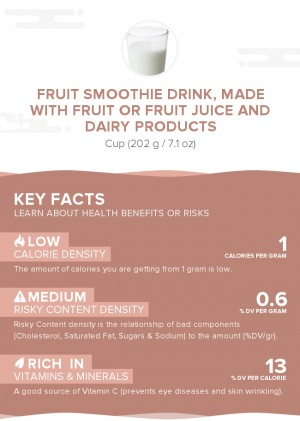 Fruit smoothie drink, made with fruit or fruit juice and dairy products