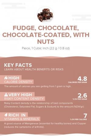 Fudge, chocolate, chocolate-coated, with nuts