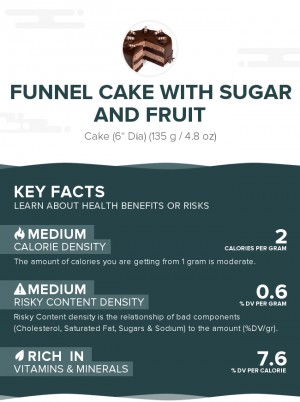 Funnel cake with sugar and fruit