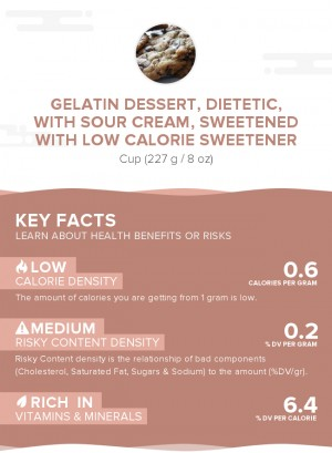 Gelatin dessert, dietetic, with sour cream, sweetened with low calorie sweetener